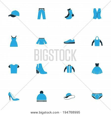 Garment Colorful Icons Set. Collection Of Vest, Beanie, T-Shirt And Other Elements. Also Includes Symbols Such As Underpants, Tunic, Shoes.