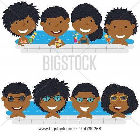 Cheerful girls and boys relaxing and drinking cocktails in the pool. Young African American teens having fun in outdoor swimming pool. Summer vacation in the resort vector illustration.