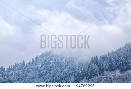 fog in winter mountains in Bavaria Germany