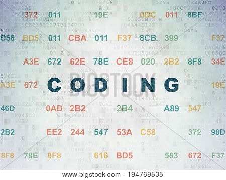 Programming concept: Painted blue text Coding on Digital Data Paper background with Hexadecimal Code