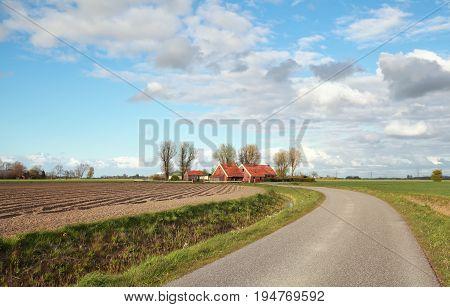 curved road through Dutch farmland in spring