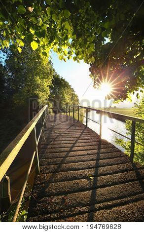 gold sunshine over biking bridge in Netherlands