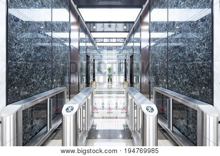 entrance corridor with intelligent equipment in modern office building