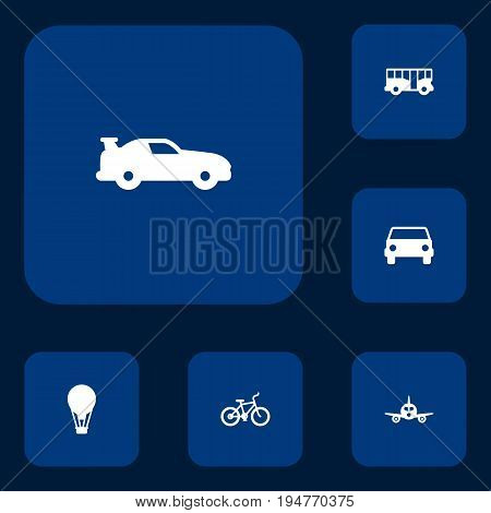 Set Of 6 Shipping Icons Set.Collection Of Airship, Bicycle, Autobus And Other Elements.