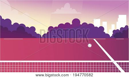 Digital Vector tennis court background for commercial character animation