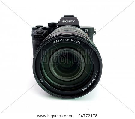 BERLIN, GERMANY - June 06, 2016: Sony a7R II Alpha Mirrorless Fast-focusing and 4K-shooting Digital Camera with Sony 24-240 mm lens