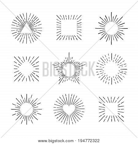 Sunburst ink hand drawn vector set. Vintage and hipster sun rays frames collection. Part two.