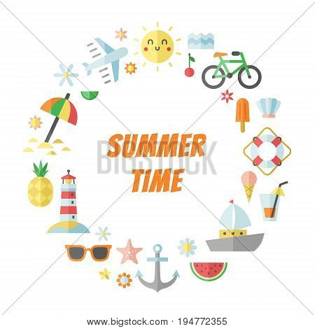 Summer sea and beach flat circle vector frame.