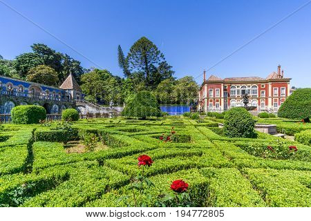 LISBON,PORTUGAL - MAY 17,2017 - National Monument - Palace Marquesses of Fronteira with garden. Lisbon is the capital of Portugal.