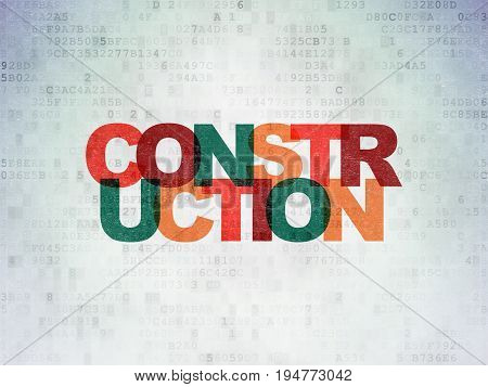 Construction concept: Painted multicolor text Construction on Digital Data Paper background