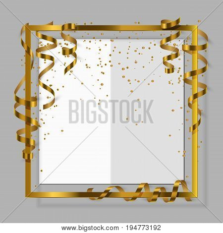 Gold frame with gold ribbon serpentine dust and white paper