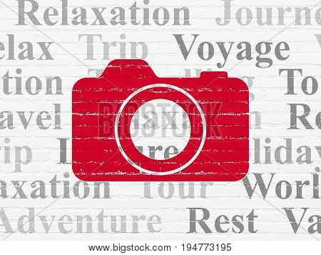 Travel concept: Painted red Photo Camera icon on White Brick wall background with  Tag Cloud