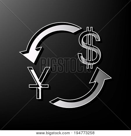 Currency exchange sign. China Yuan and US Dollar. Vector. Gray 3d printed icon on black background.
