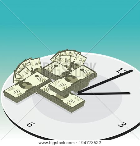 Time is money vector concept. Time management vector concept. Isometric watch for time management business infographic. -stock vector
