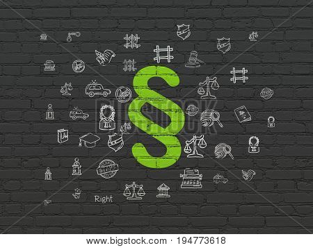Law concept: Painted green Paragraph icon on Black Brick wall background with  Hand Drawn Law Icons