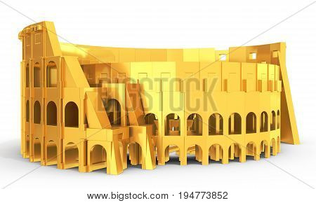 3D Golden Roman Colosseum