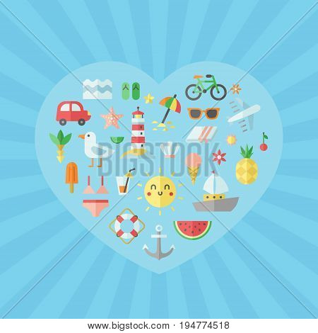 Summer sea and beach flat heart vector illustration.