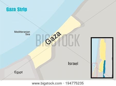 gaza strip and meditteranian sea map background