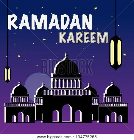 Welcome to ramadhan month with silhouette of mosque