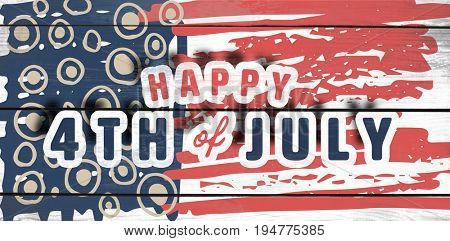 Digitally generated image of happy 4th of july text against wood