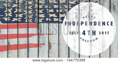 Computer graphic image of happy 4th of july text against wood background