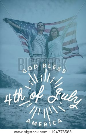 Digitally generated image of happy 4th of july message against full length of couple holding american flag against sky