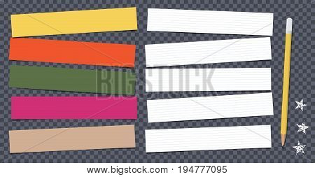 White and colorful note, notebook, copybook paper strips stuck on black squared background with pencil and stars
