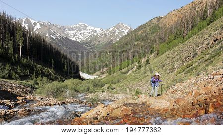 LAKE CITY, COLORADO, JUNE 21. The Silver Creek Trail on June 21, 2017, near Lake City, Colorado. A Woman Hikes the Silver Creek Trail in Colorado
