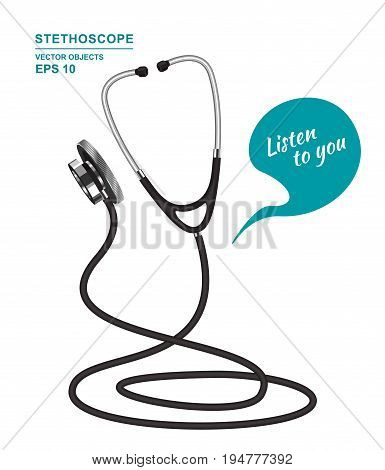 Vector cartoon illustration. Funny medical consultant. Agent Stethoscope on white background. Call center ambulance adviser