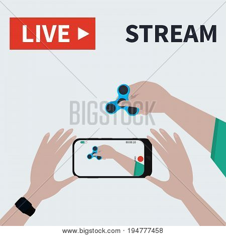 Video streaming on smartphone.  hand hold hand spinning machine.  Watch online videos poster suitable for infographics, presentation or advertising. Vector illustration.