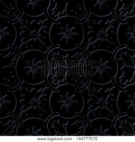 Seamless 3D Elegant Dark Paper Art Round Chain Flower