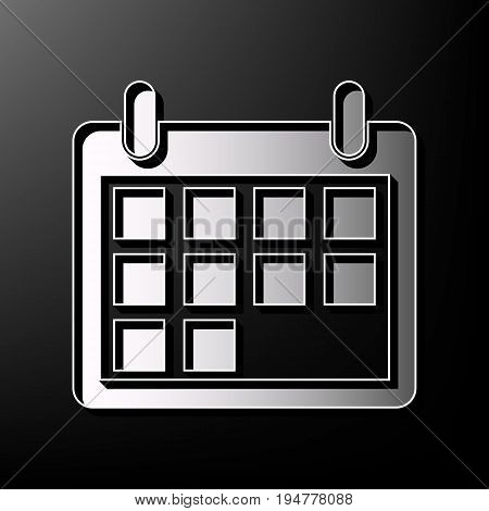 Calendar sign illustration. Vector. Gray 3d printed icon on black background.