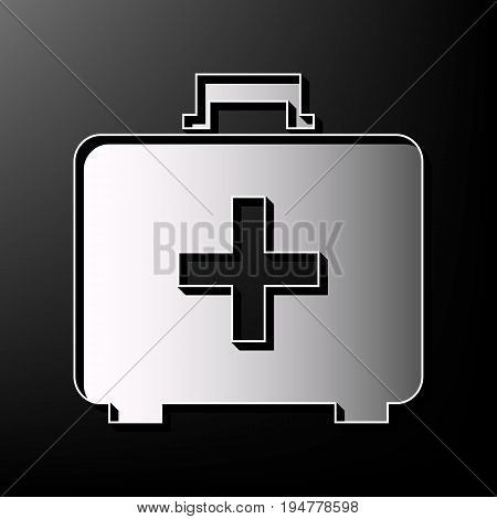 Medical First aid box sign. Vector. Gray 3d printed icon on black background.