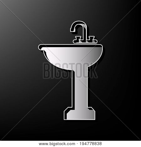Bathroom sink sign. Vector. Gray 3d printed icon on black background.