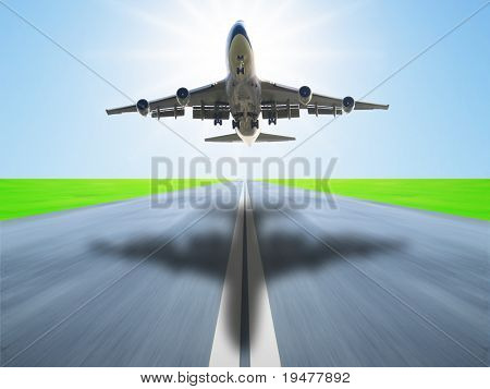Airplane take off in runway poster