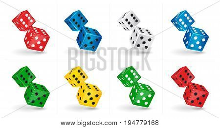 Vector game illustration. Six sided casino Dice isolated on white background. Gambling template