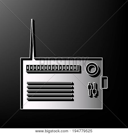 Radio sign illustration. Vector. Gray 3d printed icon on black background.