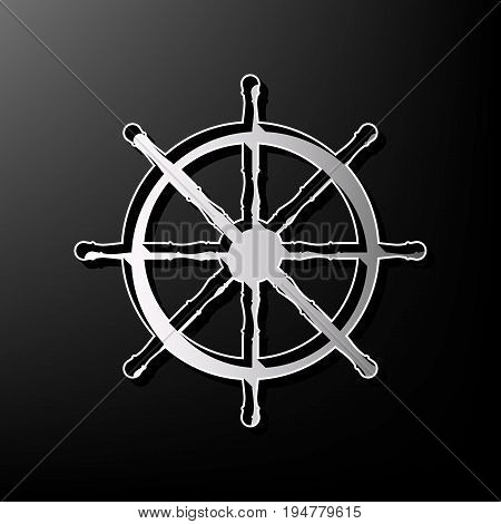 Ship wheel sign. Vector. Gray 3d printed icon on black background.