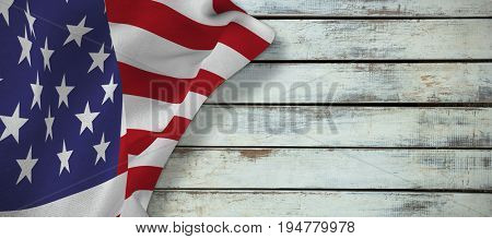 Focus on usa FLAG against wood panels in row