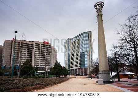 ATLANTA GA USA MARCH 4 2014 - View to CNN Center headquarter and Omni Hotel on March 4 2014 in Atlanta GA USA.