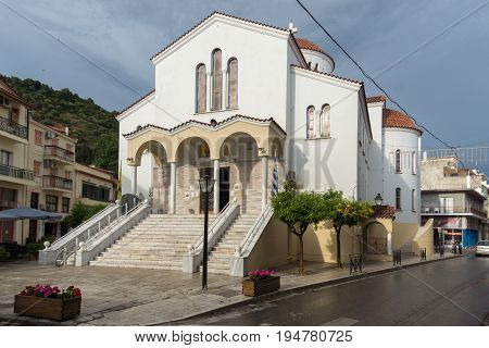 PATRAS, GREECE - MAY 28, 2015: Orthodox church in Nafpaktos town, Western Greece