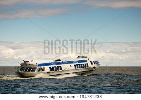St. Petersburg, Russia - June 28, 2017: High-speed Hydrofoil Ship In St. Petersburg.