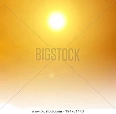 heat wave and orange sun light background