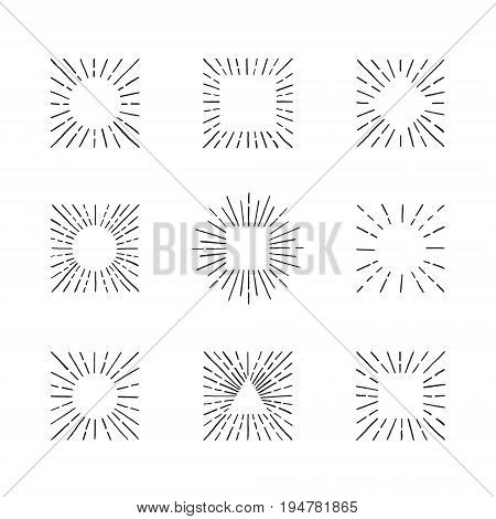 Sunburst ink hand drawn vector set. Vintage and hipster sun rays frames collection. Part five.