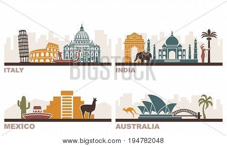 Architectural sights of different countries. USA Italy India Mexico and Australia