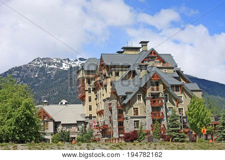 Buildings on a street in Whistler, Canada