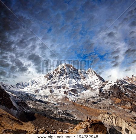 Panorama of mount Annapurna South also called Annapurna Dakshin or Moditse - view from Annapurna Base Camp in Nepal Himalaya