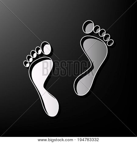 Foot prints sign. Vector. Gray 3d printed icon on black background.