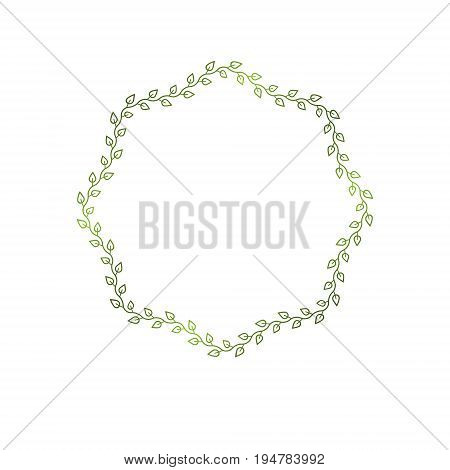 Award vintage geometric frame with clear copy space made as spring design decorated with green tree leaves. Vector retro style label heraldry emblem isolated on white background.