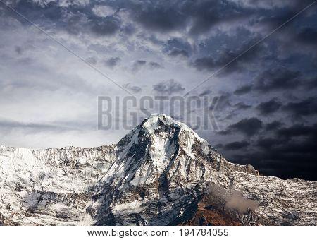 Mountain Peak In Annapurna South Massif In Nepal Himalaya